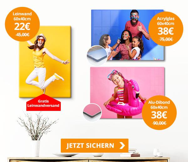 Leinwand 60x40cm 22€, Acrylglas & Alu-Dibond 60x40cm 38€